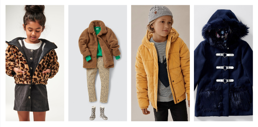 L-R:  Clara Reversible Puffer,  Teddy Coat Seed Heritage, Cord Puffer Jacket Country Road,  Tutus & Tambourines Fur Trim Jacket Target.