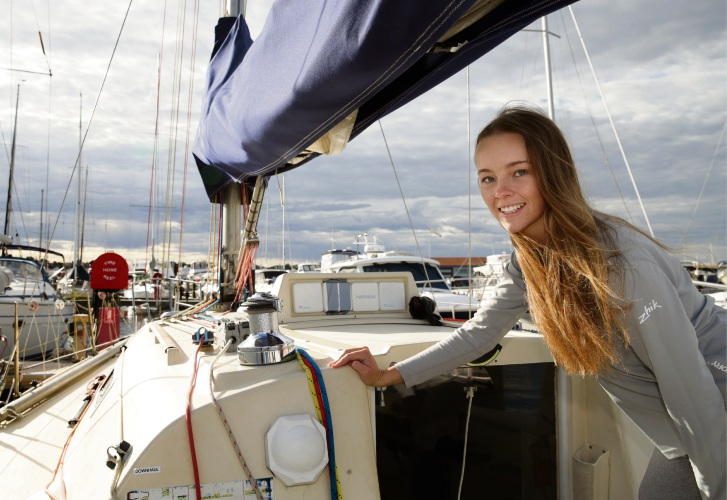 Chelsea Bradford on board Whispering Jack at Hillarys Boat Harbour. Picture: Martin Kennealey d493644