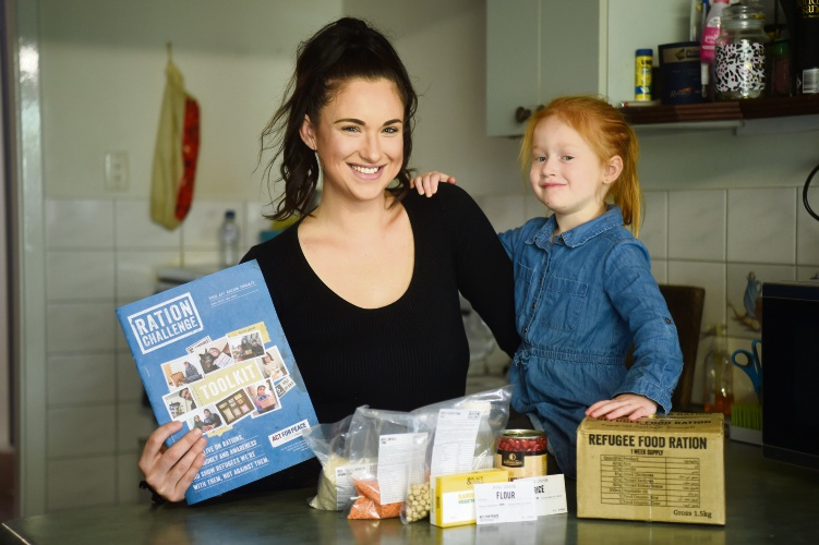 Chelsea Parmenter, with Ruby, is trying life as a refugee to raise funds in the Ration Challenge. Picture: Jon Hewson www.communitypix.com.au d493905