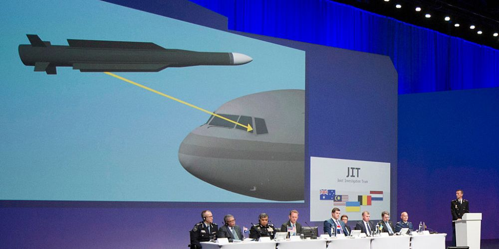The Joint Investigation Team presents the first results of its criminal probe into the downing of Malaysia Airlines Flight MH17. Picture: Freek van den Bergh/Getty Images