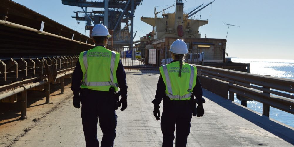 ABF officers patrolling the Kwinana wharf. Picture: Supplied