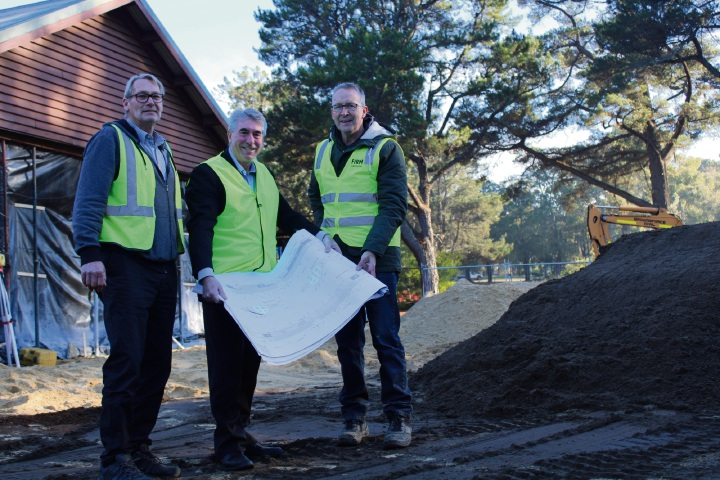 Head project architect Chris Wilcox, Shire President David Bolt and Firm Constructions site supervisor Greg Houston.