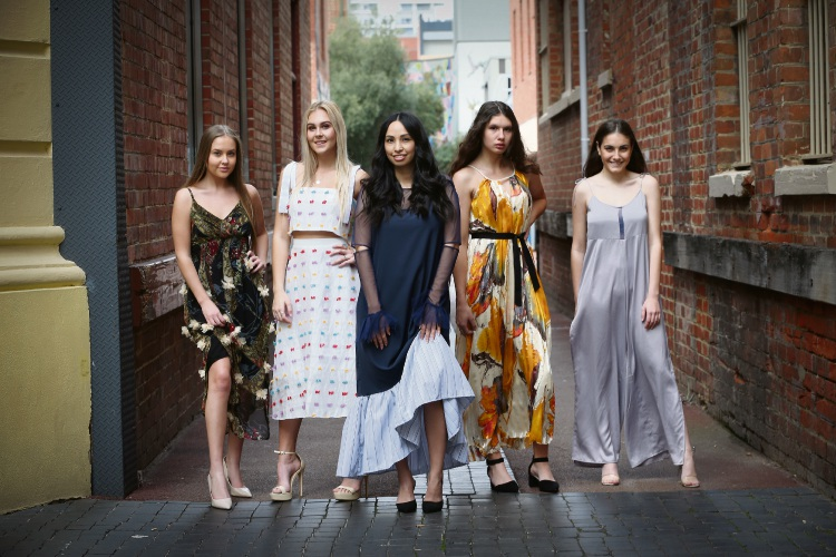 Isobella Rafferty 17, Asha Vivian 16, founder of Kalgoorlie Fashion Week Yasmin Walter, Tiana Schaper 17 and Briana Demaio 17.  pictured in King Street Perth ahead of Kaloorlie Fashion Week Picture: Andrew Ritchie www.communitypix.com.au   d494084