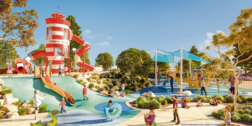 An artist's impression of the new playground at Amberton Beach.