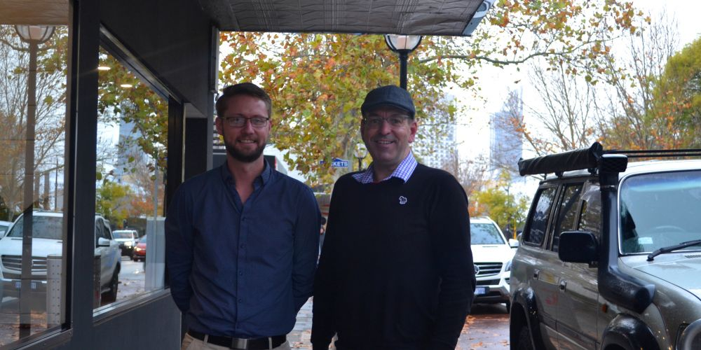 West Perth local secretary Ben Carruthers and chair Steve Wellard outside Joe's Bakery, one of the spots the group wants to see a parklet. Picture: Jessica Warriner.