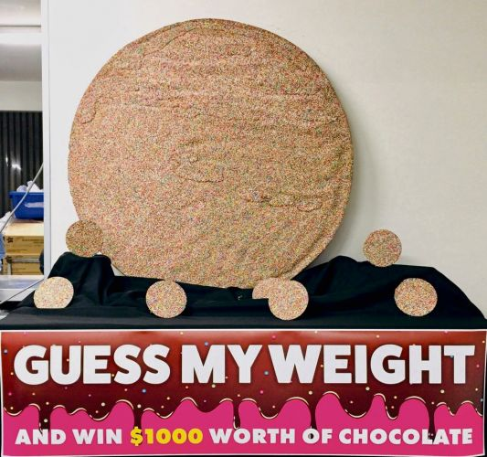 The world's largest giant chocolate freckle on display at Margaret River Chocolate company in Swan Valley. Picture: Supplied