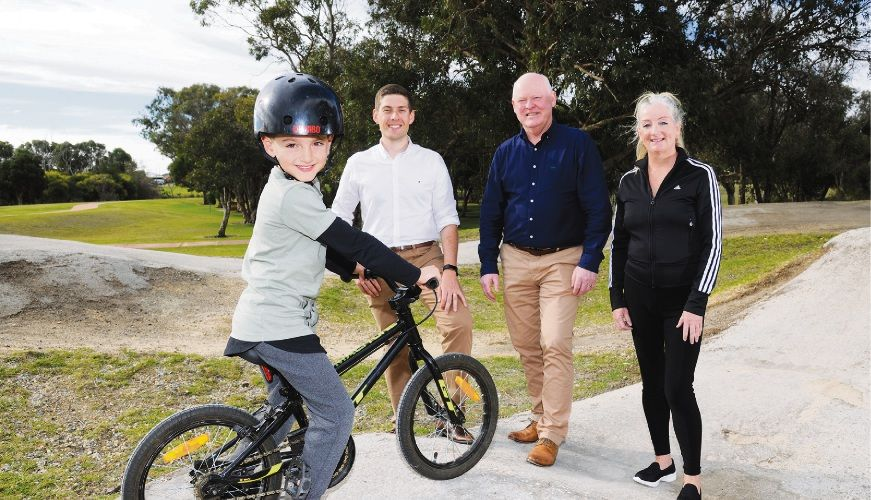 Landsdale Primary School student Bryson Litchfield with Wanneroo councillors Domenic Zappa, Brett Treby and Mayor Tracey Roberts at Warradale Park.