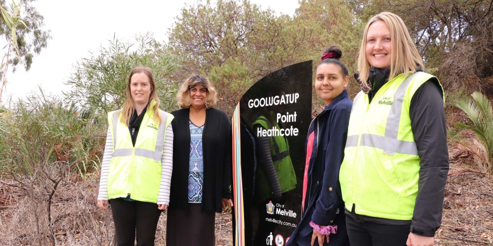 City of Melville environmental education officer Kellie Fowler; community development officers – Aboriginal engagement Leanne Woods and Lyeesha Jetta with environmental officer, Jacklyn Kelly with one of the signs.