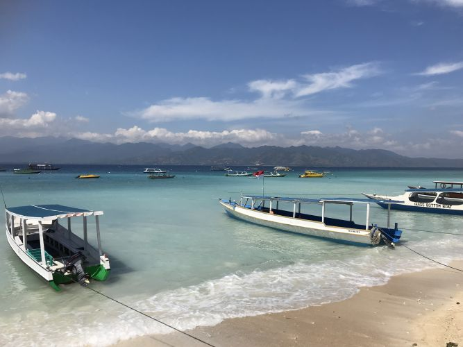 Exploring Gili Trawangan off the coast of Lombok. Picture: Tyler Brown