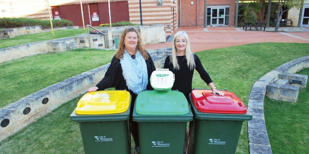 Wanneroo Deputy Mayor Nat Sangalli and Mayor Tracey Roberts with three bins.
