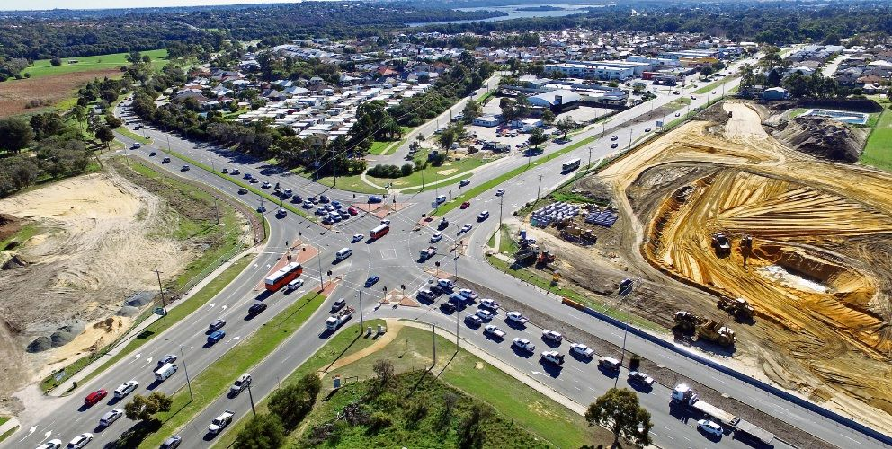 Drone image of the intersection improvement works taking place at Ocean Reef Road and Wanneroo Road. Picture: David Baylis d494329