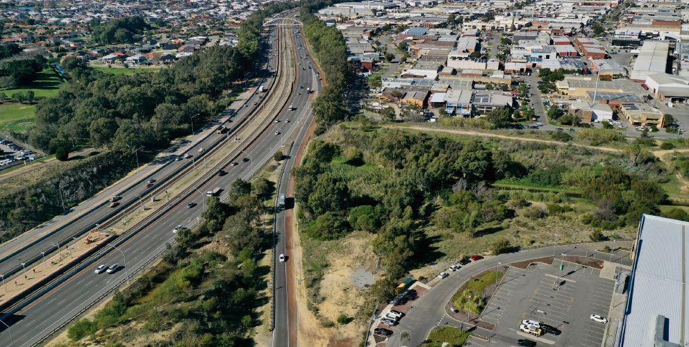 The planned Stephenson Avenue extension connecting to the freeway. Picture: Andrew Ritchie