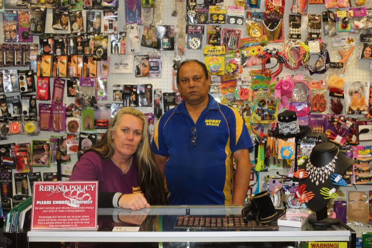 Hocus Pocus Costumes, Corsets Characters owner Jody Newton with Mandurah Hobby Shack owner Mark Kelly.