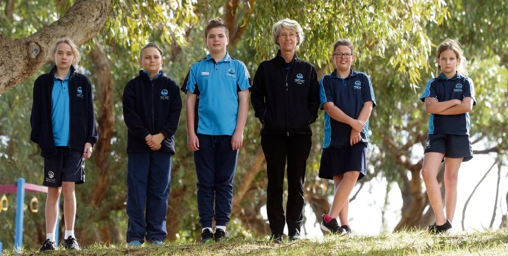 Yanchep Lagoon Primary School teacher Liz Gibbes with students Sienna, Lukas, Henry, Alexis and Daniella. Picture: Martin Kennealey www.communitypix.com.au d493818