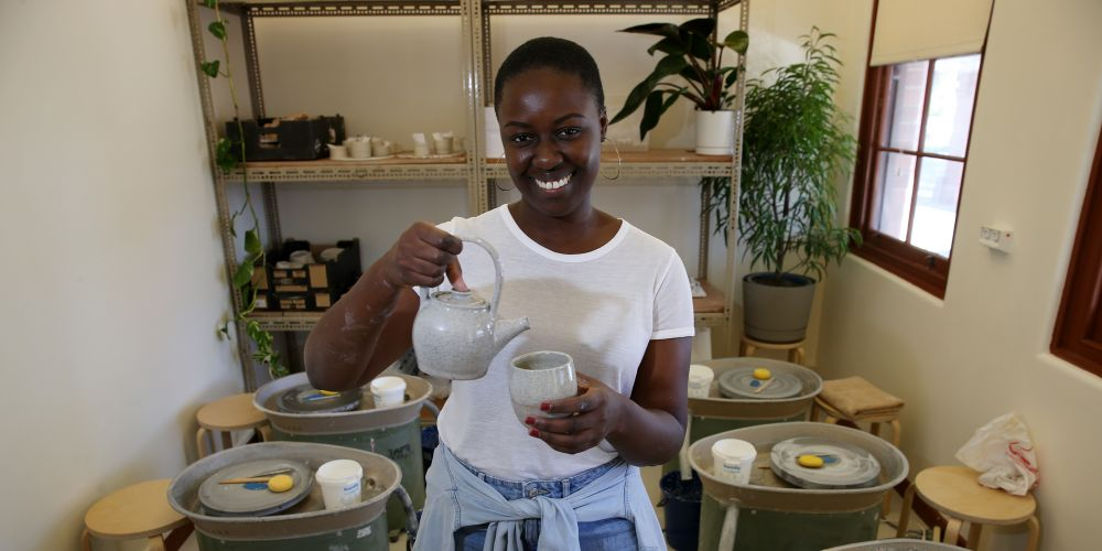 d494299 Piara Waters resident Lucy Aboagye is the owner of Not Yet Perfect Pottery, which is a new studio that has opened at the Heathcote Cultural Precinct. Picture: Andrew Ritchie