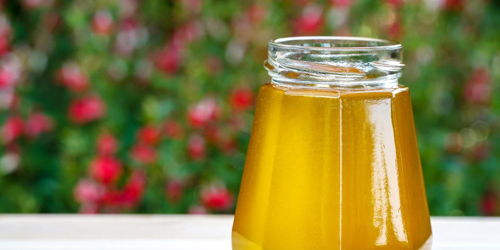 Honey is just one ingredient in a homemade coconut lip scrub.