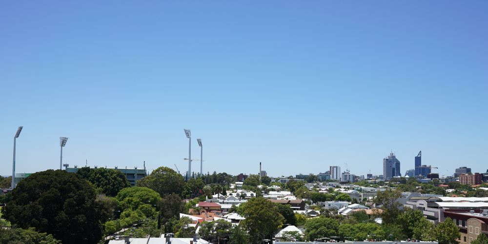 Views past Subiaco Oval to the city
