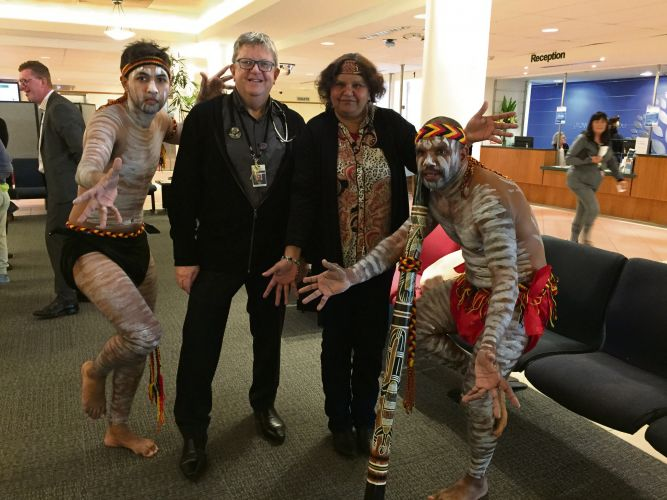 Noongar dancers Troy and Tim Kelly with Barry Vieira and Cheryl Martin.