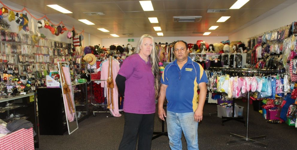 Hocus Pocus Costumes, Corsets Characters owner Jody Newton with Mandurah Hobby Shack owner Mark Kelly. They are urging residents to shop local.