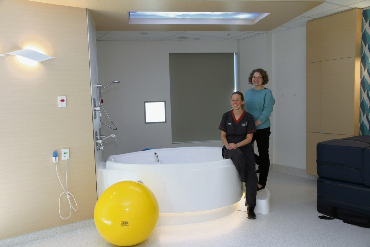 FSH Family Birthing Centre clinical midwives Gemma Hall and Rowena Davies in one of the birthing suites.
