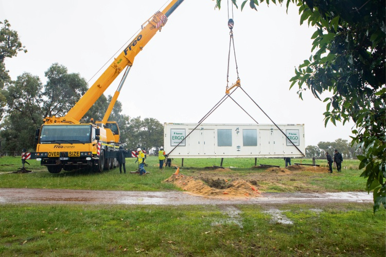 The new accommodation unit being delivered.