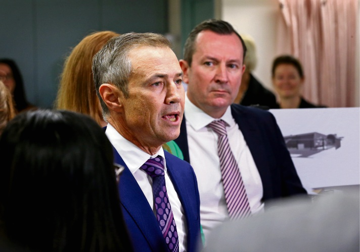 Health Minister Roger Cook and Premier Mark McGowan and Osborne Park Hospital. Photo: David Baylis