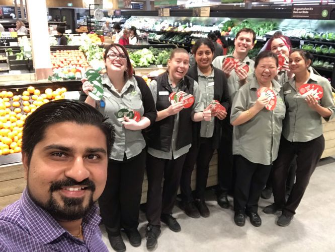 Riverton Woolworths store manager Amit Patel with his staff Karen Seet, Janki Gadhavi, Nisha Rakesh, Louise McKone, Tyrone Bonnitcha, Claire McDonald and Alicia Tennant.