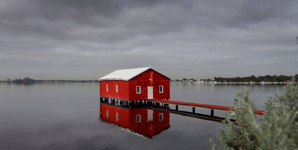 Crawley Edge Boatshed is usually blue. Picture: Andrew Ritchie