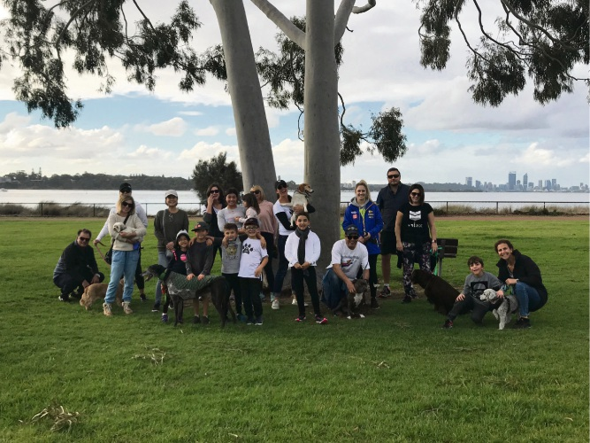 The participants of the dog walk at the Attadale foreshore.