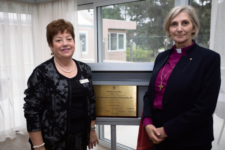 Meath Care (Inc) chief executive Olive Wright with The Most Reverend Kay Goldsworthy.