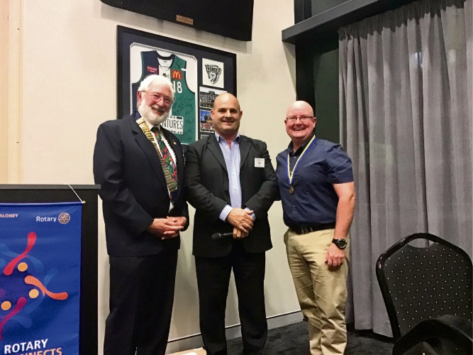 (from left) Rotary's Paul Rowe, Fellow recipient Wayne Mountain and Rotary's Barry Butson.