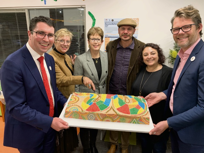 Perth MHR Patrick Gorman, Bayswater Child Care Association Chair Sally Palmer, manager Ann Mills, William Hayward, manager Maria Stella, Silverwood Centre parent advisory committee chair Nikki Staveley and Mayor Dan Bull.