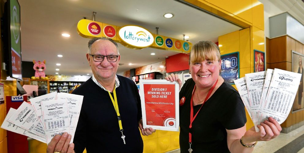 NewsXpress Whitford City owner Jim Manifis and manager Danielle Lennerts at the store where the winning ticket was sold. Picture: David Baylis www.communitypix.com.au d494596