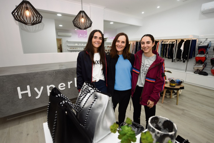 Hyperluxe Activewear co-owner Jenny Sharpless with daughters Madi and Cassie.