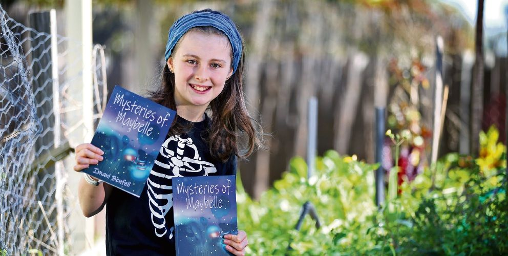 Imani Benfell (12) of Wanneroo. Imani has written her first book, Mysteries of Maybelle. Picture: David Baylis www.communitypix.com.au d494499