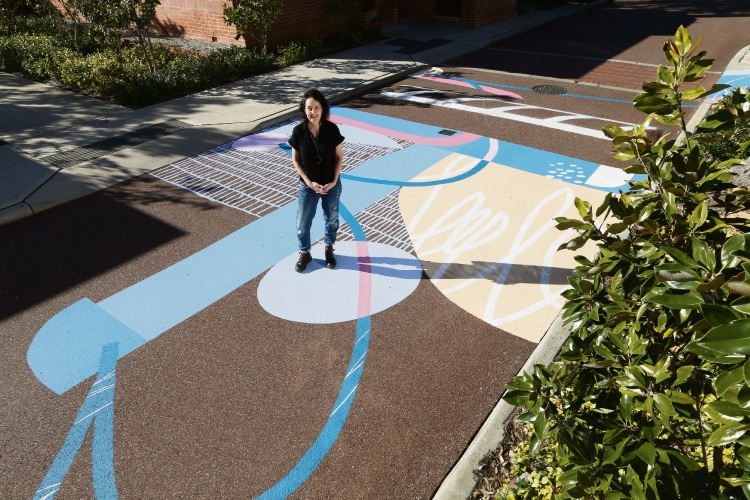 d494597 Artist Sioux Tempestt with one of her artworks at the Heathcote Cultural Precinct. Picture: Andrew Ritchie