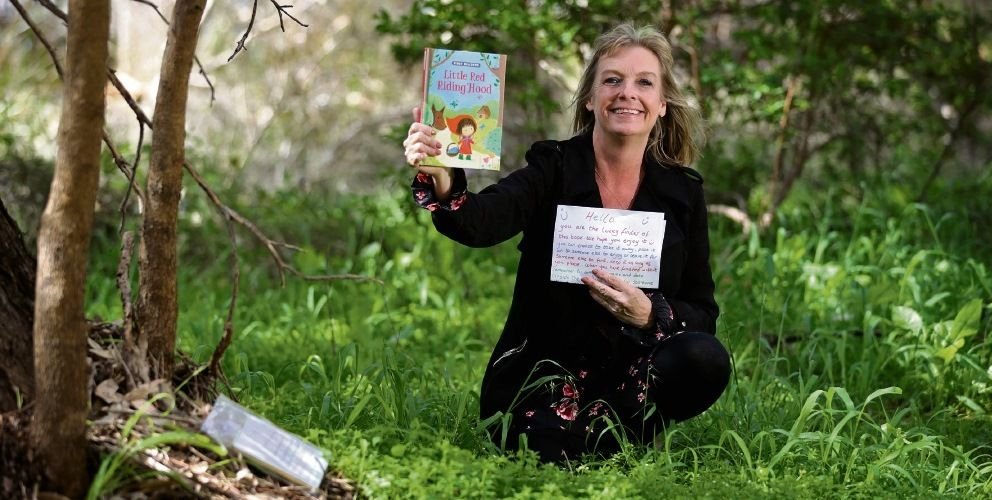 Ceri Jenkins, of Kinross, started Look For A Book Perth All Areas, hiding books in public places. Picture: David Baylis www.communitypix.com.au d495489