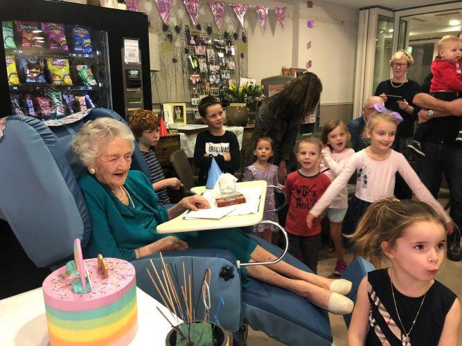 Norah James with her great-grandchildren.