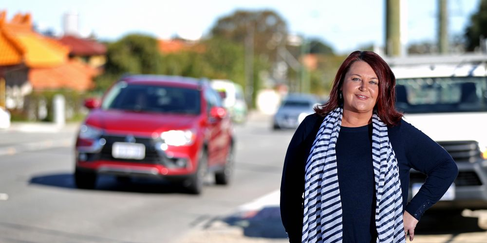Cr Catherine Ehrhardt (City of Bayswater), seen here on Guildford Road in Maylands, between Belgrave Street and Morrison Street.  Picture: David Baylis.                 www.communitypix.com.au     d494857