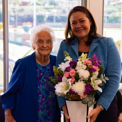 Dorothy Lewis with Liza Harvey at her 100th birthday morning tea.