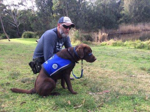 Former SAS soldier Richard Doorne and assistance dog Gar.