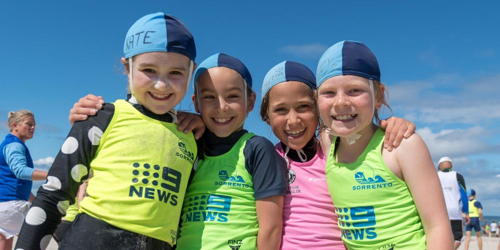 Sorrento SLSC members Kate Johnson, Ellie O'Grady, Martha Chin and Lucy Elderfield. Picture: Andrew Mayberry