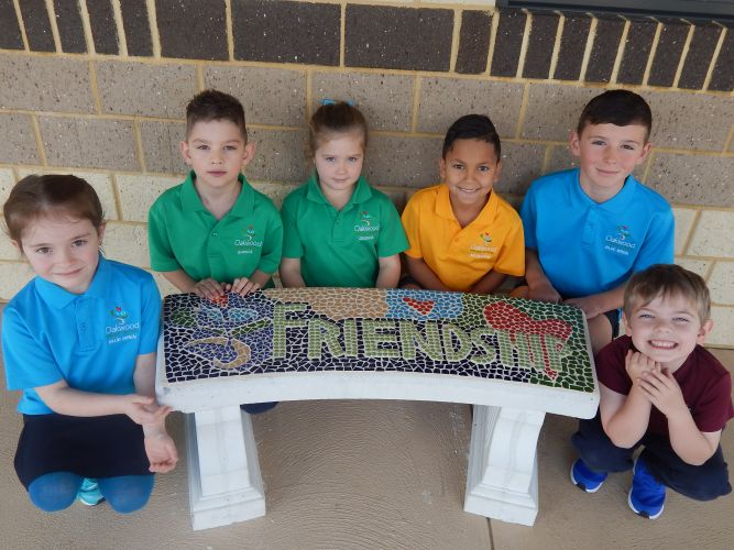 Oakwood PS students Charlie-Rose, Knox, Evie, Natheo, Huey and Nathaniel with one of the new friendship benches.