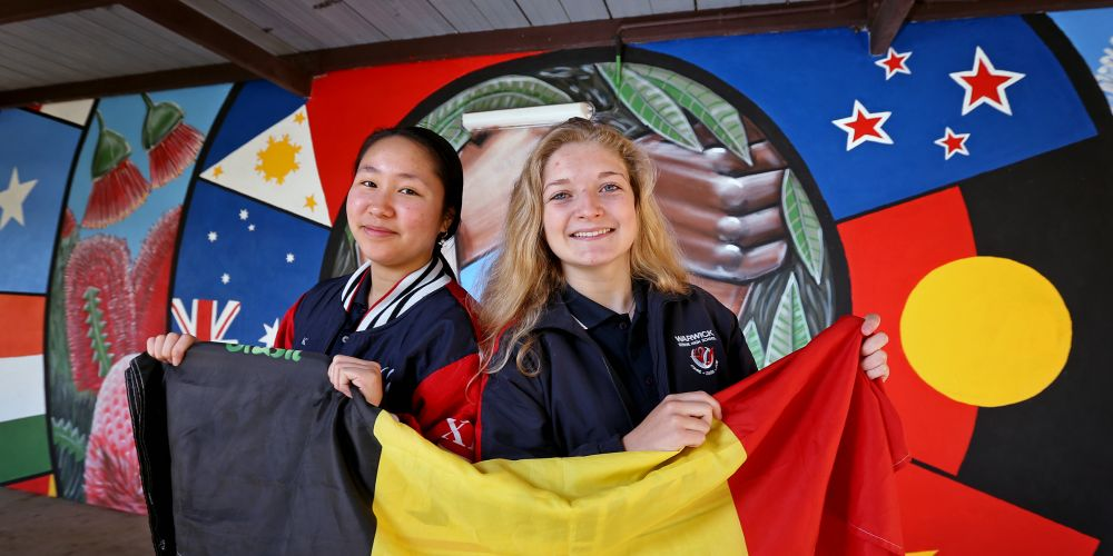 Warwick Senior High School student Julia Pham (17) and Elise Grevesse (17) who is an exchange student visiting from Belgium. Picture: David Baylis d494976