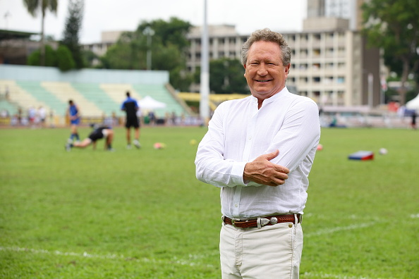 Founder of Global Rapid Rugby, Andrew Forrest poses for a photo during the Global Rapid Rugby match between the Asia Pacific Dragons and Western Force at Queenstown Stadium. Picture: Suhaimi Abdullah/Getty Images
