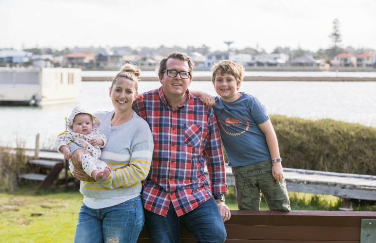 Daniel Wilkins with his wife Kelly, son Dylan (8) and daughter Lucy (two-months-old).