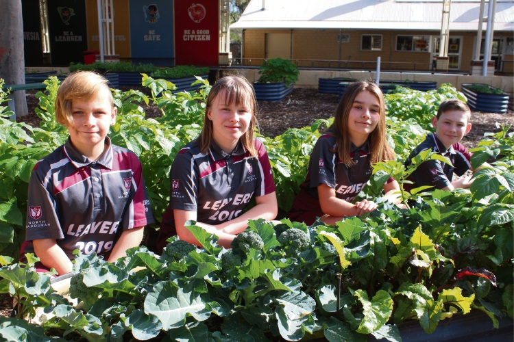 North Mandurah Primary School students Cole, Bridee, Cleo and Christian in their sensory garden, which will benefit from a Growing Good Garden Grant.