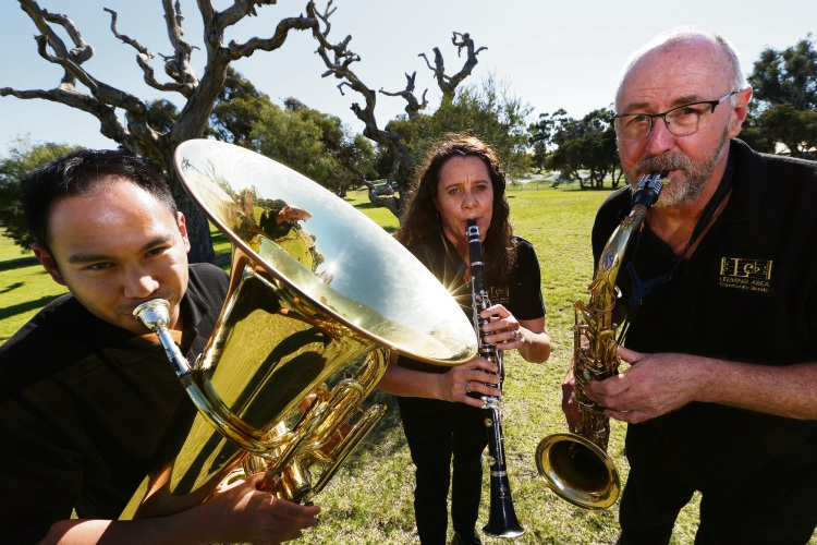 d495055k Leeming Area Community Band members Wafi Zainal, Jacqui Nielsen and Jeff Cahill. Picture: Andrew Ritchie