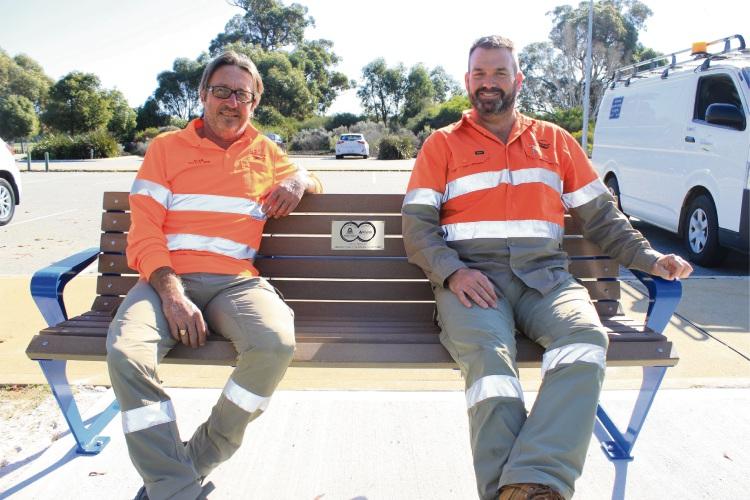 City of Mandurah irrigation technicians Alan McKay and Russell Price.