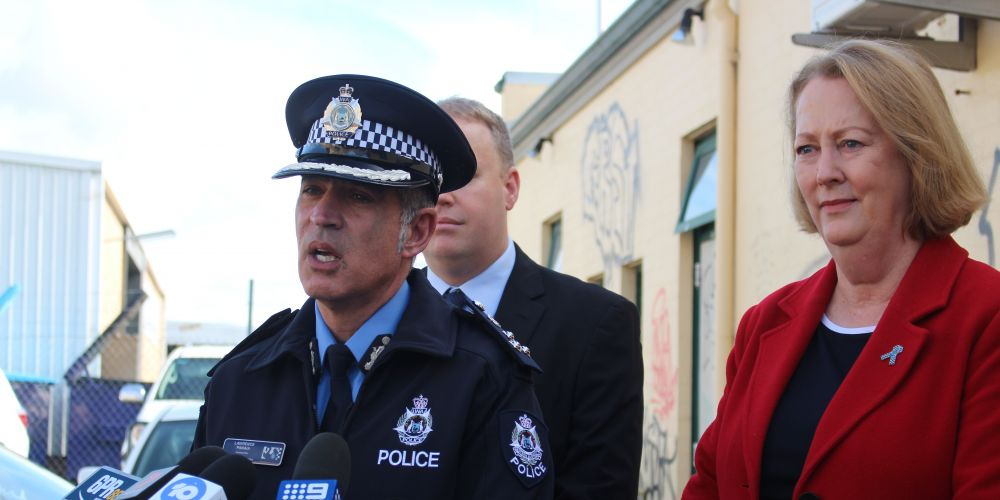 Commander Lawrence Panaia and Police Minister Michelle Roberts. Picture: Nadia Budihardjo